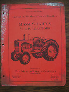 Massey Harris 55 Lp Gas Owners Manual