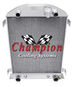 1932 Ford High Boy Flathead Configuration 3 Row Aluminum Champion Sr Radiator