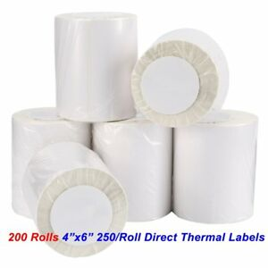 200 Rolls Direct Thermal Labels 4x6 250 roll For Zebra 2844 Zp450 Eltron