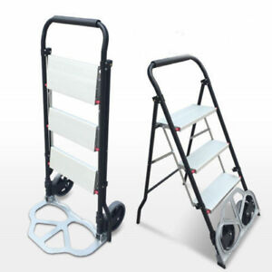 2 In 1 3 Step Ladder Folding Cart Dolly 660lbs Hand Truck With Two Wheels Us
