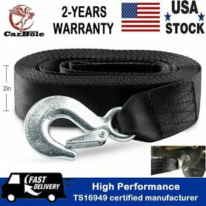 2 X20ft Tow Strap W Loop Ends 10 000 Lb Winch Sling Capacity Recovery Rescue