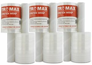 Tromax 6 pack Stretch Wrap 5 X 1000 Feet Strong 80 Gauge Film With Handle