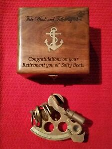 Nautical Marine Brass Sextant Brass Inlaid Wooden Box Navy Collectable Set