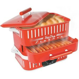 Hot Dog Steamer Cooker Machine Electric Food Bun Warmer Red Retro Vintage