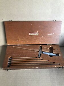 Starrett No 440 Depth Micrometer Gauge 0 9 W Case And 5 Extended Rods