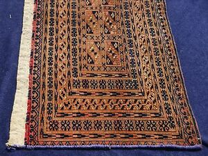 Antique Turkmen Tent Tekke Runner Freize Rug Natural Wool Lavender Rust Blue 1x3