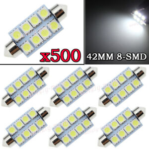 500x White Led Map Dome Lights 8 smd 1 72 41mm 42mm Festoon Bulbs 211 2 578 569