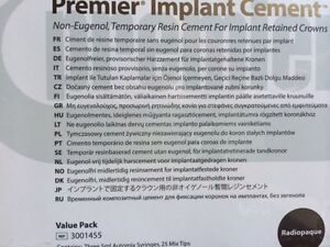 Dental Premier Implant Cement Non eugenol Temp Resin Value Pk 3 X 5ml 3001455