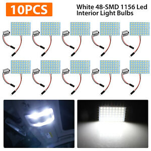 10pcs White 48 Smd Panel Led Festoon 1156 Adapter Interior Dome Map Light Bulbs