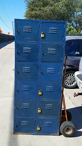 12 Unit Storage Metal Locker Blue 6 Tier Box Shelving Gym School Wall
