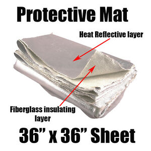 Aluminized Fiberglass Insulation Mat Muffler Cover Wrap Protective Pipe Blanket