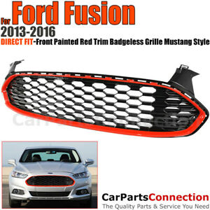 Front Grille For Ford Fusion 2013 2016 Mustang Style 1 Red Trim Glossy Honeycomb