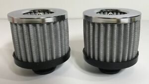 Pair Chrome Valve Cover Breathers Push In Washable Filter 1 1 4 Hole