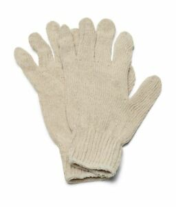 48 Pairs Natural Poly Cotton String Knit Economy Work Gloves Men