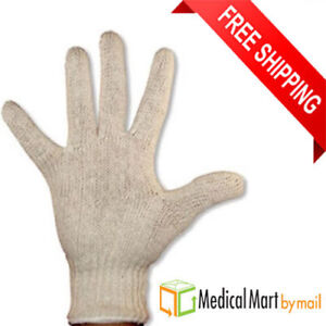 144 Pairs Natural Poly Cotton String Knit Economy Work Gloves Men