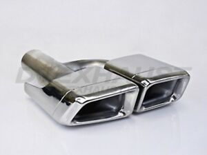 Pair Dt 24138 L r Dual Double Wall Square Exhaust Tip 2 25 Inlet 13 Length