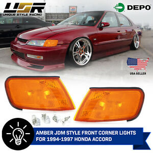 Depo Jdm Pair Of Amber Front Corner Lights Lamps For 1994 1997 Honda Accord