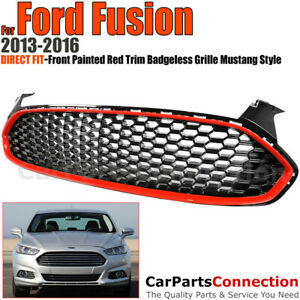 Front Grille For Ford Fusion 2013 2016 Mustang Style Red Trim Glossy Honeycomb