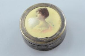 Vintage Miniature Silver Plated Trinket Box Women Portrait