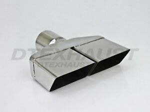Dt 25152 Dual Single Wall Square Stainless Exhaust Tip 2 25 Outlet 8 25 Long