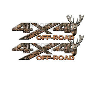 4x4 Off Road Real Camo Tree Deer Head Truck Decal Sticker Chevy Ford