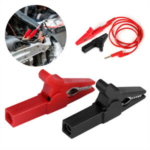 Full Insulated Car Vehicle Battery Charger Crocodile Alligator Clip Clamp Test H
