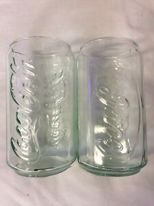 2 NEW COKE COCA COLA EMBOSSED GLASSES CAN SHAPED RAISED LETTERS 12 OZ