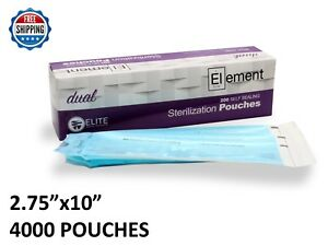 4000 Element 2 75x10 Self Seal Sterilization Pouch Dual Indicator Dental Tattoo