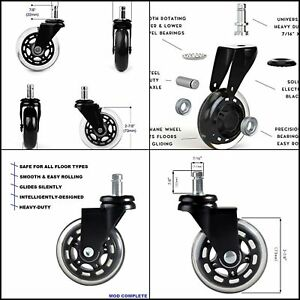 3 Heavy Duty Safe Set Of 5 Office Chair Caster Wheels Replacement Standard Size