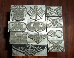 Vintage 11pc Armed Forces Dingbats Foundry Type Letterpress Printing Dingbat