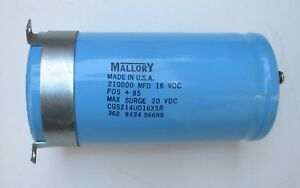 Mallory 210000 Mfd 16vcd Capacitor Made In Usa