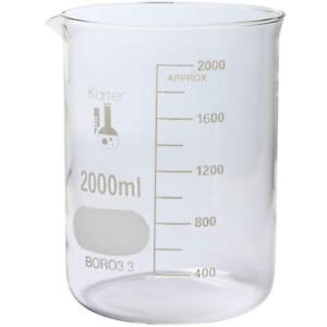 Karter Scientific 2000 Ml Low Form Graduated Glass Beaker single