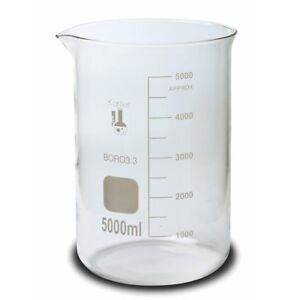 Karter Scientific 5000 Ml Low Form Graduated Glass Beaker single