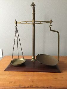 Antique English Balance Scales Holliday Co London Brass And Wood