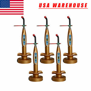 5x Dental Wireless Cordless Led Curing Light Cure Lamp Dentist Gold Kmhl