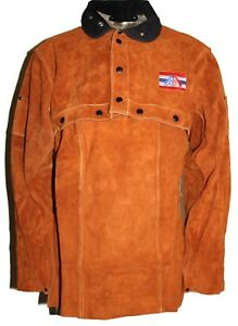 Unisex Brown Fr Leather Welding Cape Sleeves And Bib S To 4xl W Welding Bib