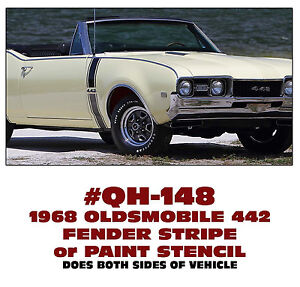 Ge qh 148 1968 Oldsmobile Olds 442 Fender Stripe Decal Or Paint Stencil Kit