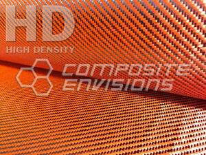 Carbon Fiber Made With Kevlar Orange Fabric 2x2 Twill 50 3k 6 6oz Hd Weave