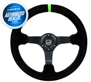 New Nrg Deep Dish Steering Wheel 350mm Suede Neon Green Stitching Rst 036mb s gn
