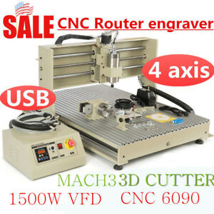 1500w Usb 4axis Cnc 6090 Vfd Spindle Router Engraver Mill Metalworking Wood Cut