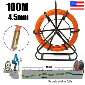 100m Fiberglass Duct Rodder Fish Tape Cable Running Rod Wire Puller Push Rod Usa
