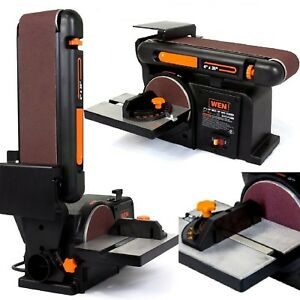 Disc Belt Sander Combination Iron Base Bench Top Polisher Woodworking Grinder