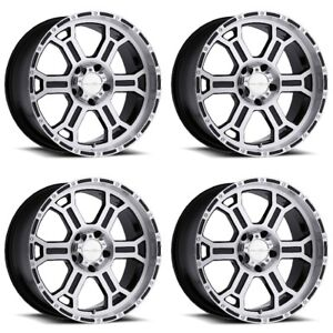 22 Vision Black Machined Wheel 22x9 5 5x4 5 18mm Ford Ranger Jeep 5 Lug Truck