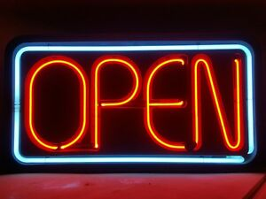 Vintage Big Neon Open Sign Restaurant Business Bar 31x16x4 Made In Usa Collectib