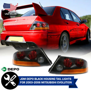 Depo Jdm Pair Red amber Tail Light For 03 06 Mitsubishi Lancer Evo Evolution 8 9