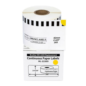 20 Dk 2205 Yellow Replacement Rolls Compatible W Brother