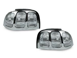 Depo All Clear Chrome Rear Tail Lights For 1994 1998 Ford Mustang V6 Gt Cobra