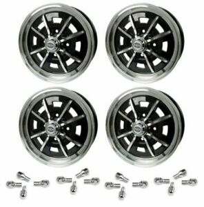 Set Of 4 15 X 5 Vw Bug 4 Lug Black Empi Sprint Star Wheels Lug Nuts