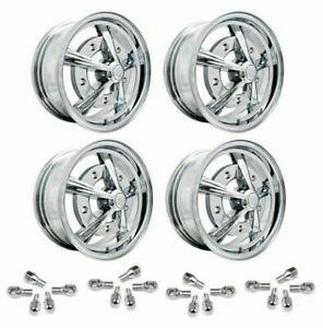 Set Of 4 15 X 5 Vw Bug 5 Lug Chrome Empi Raider Wheels Lug Bolts