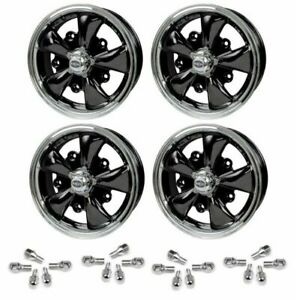Set Of 4 15 X 5 1 2 Vw Bug 5 Lug Black Empi 5 Spoke Wheels Lug Nuts